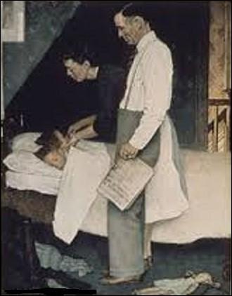 """Faisant partie d'une série de quatre célèbres tableaux, connus sous le titre collectif ''Les Quatre Liberté"""" et publiés au début de l'année 1943 dans le ''Saturday Evening Post"""", ''À l'Abri de la peur'' est une peinture à l'huile sur toile peinte par un peintre figuratif de la vie américaine du XXe siècle, et illustrateur. Quel est son nom ?"""