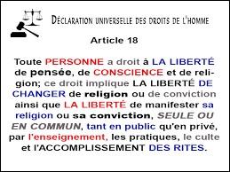 L'article traitant de la liberté de conscience dans la Déclaration Universelle des Droits de l'Homme est :