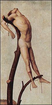 Une méthode de mise à mort consistant à placer le supplicié sur une croix, un support en forme de T ou un arbre et à l'attacher par divers moyens .