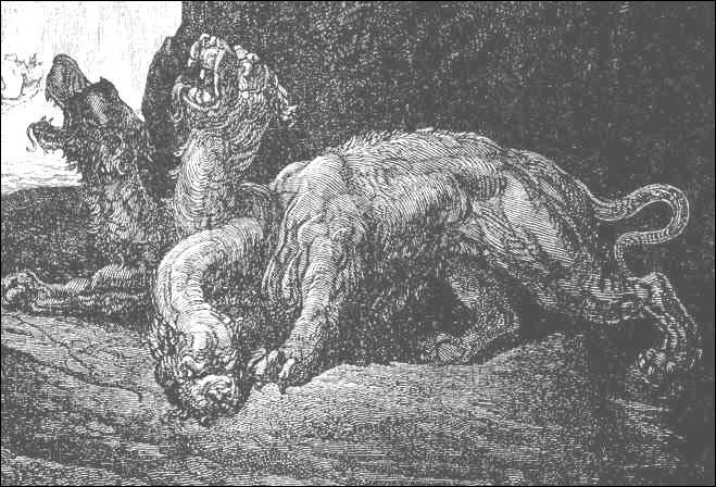 Le chien gardant l'entrée des Enfers.