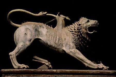 Monstre femelle à l'apparence terrifiante. Elle possède une tête et un corps de lion, une tête de chèvre sur le dos et une queue à tête de serpent. Comme le dragon, elle crache des flammes.