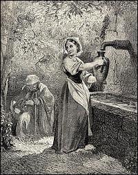 Une dame magnifiquement vêtue qui vint lui demander à boire : C'était la même fée qui avait apparut à sa sœur...