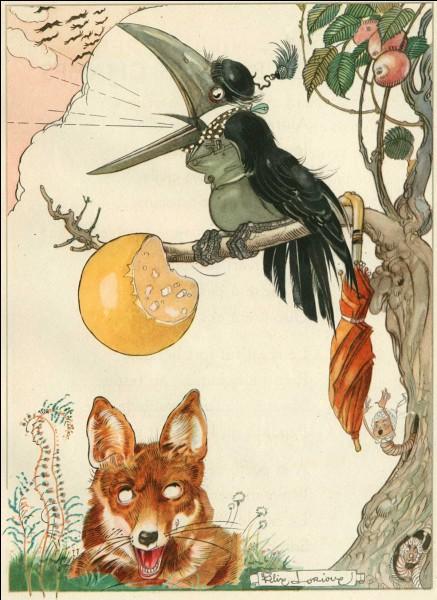 Que tenait le corbeau dans son bec ?