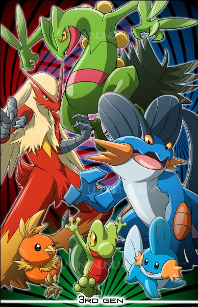 Qui sont les trois premiers Pokémon de la 3e génération ?
