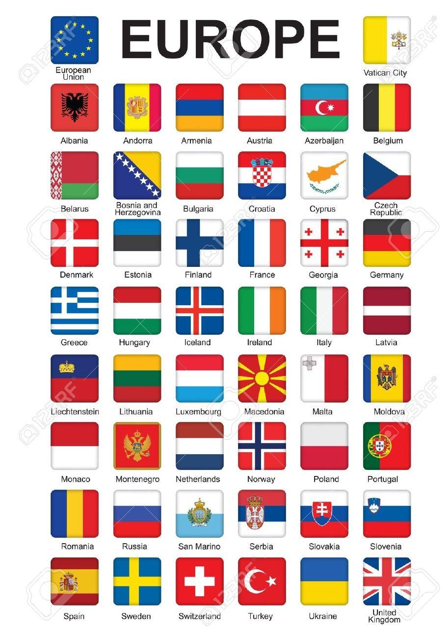 Drapeaux des pays (Europe)