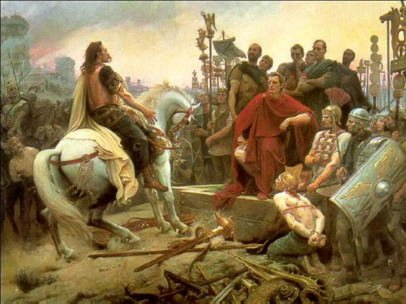 En 52 av. J.-C., une bataille fit rendre les armes à Vercingétorix face à Jules César, en Gaule, dans la ville de/d'...
