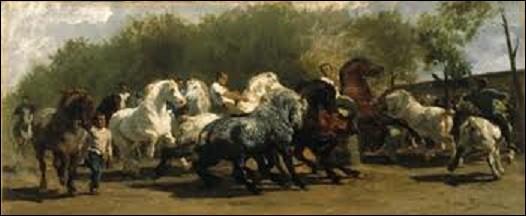 Toile réalisée de 1852 à 1855 ''Le Marché aux chevaux'' est inspirée par le marché aux chevaux de Paris. Montrant une scène de foire de vente de chevaux de trait, notamment Percherons, elle fut une première fois exposée, inachevée, au Salon de peinture et de sculpture de 1853 à Paris. Achevée, elle fut exposée à l'Exposition universelle de 1855. Quel peintre réaliste a créé cette oeuvre ?