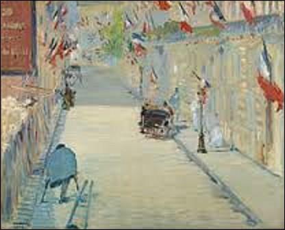 De hauteur de 65,5 cm et de 81 cm de longueur ''La Rue Mosnier aux drapeaux'' est l'oeuvre d'un peintre impressionniste et réaliste. Peinture exécutée lors de l'Exposition de 1878, alors que l'artiste avait son atelier dans ce quartier, il peint cette artère de la capitale, qui est comme les autres à cette époque, richement décorées par de nombreux drapeaux. Qui est l'auteur de cette toile ?