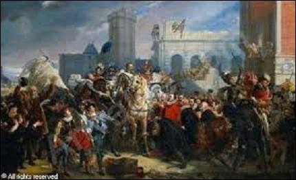 ''L'Entrée d'Henri IV à Paris, 22 mars 1594'' est une huile sur toile, de 5,10 m de haut sur 9,58 m de long, visible dans la galerie des Batailles, au château de Versailles. Représentant une scène de l'arrivée du roi dans la capitale, après son sacre à Chartres, qui se fait remettre les clefs de la ville, quel peintre néo-classique, d'histoire, et portraitiste, a réalisé cette oeuvre, en 1817 ?