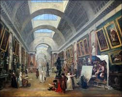 ''Projet d'aménagement de la Grande Galerie du Louvre'' est un tableau peint en 1796 par un dessinateur, graveur, créateur de jardins, conservateur au Muséum central des arts de la République (futur musée du Louvre), et peintre préromantique qui se nomme :