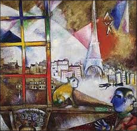 En 1913, quel peintre et graveur, dont son oeuvre sans se rattacher à aucune école, présente des caractéristiques allant du surréalisme au néo-primitivisme, a créé cette huile sur toile intitulée ''Paris par la fenêtre'' que l'on peut admirer au musée Solomon R.Guggenheim à New York ?
