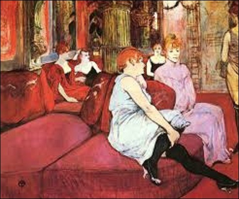 Commençons notre visite par cette toile peinte entre 1894 et 1895 s'intitulant ''Salon de la rue des Moulins''. Ce tableau représente quatre femmes en peignoir ou simplement en combinaison vautrées sur des coussins rembourrés, des divans en peluche dans le décor oriental de la maison close ''La Fleur blanche'' qui se situait au n°6 de la rue des Moulins. Quel postimpressionniste en est l'auteur ?