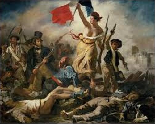 """Inspirée de la révolution des Trois Glorieuses qui s'est déroulée en 1830, ''La Liberté guidant le peuple"""" est l'oeuvre d'un artiste romantique. Présentée au public au Salon de 1831 sous le titre ''Scènes de barricades'', la toile est ensuite exposée au musée du Luxembourg à partir de 1863 puis transférée au musée du Louvre en 1874. Quel est le nom du peintre qui a réalisé ce chef-d'oeuvre ?"""