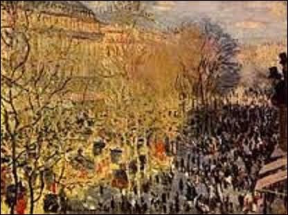 ''Le Boulevard des Capucines'' est une toile réalisée en 1873 par un peintre impressionniste depuis le balcon de l'atelier du photographe Nadar, au 35 rue des Capucines, à l'angle de la rue Daunou et du Boulevard des Capucines, entre le 1er et le 2ème arrondissement. Présentée à la Première exposition des peintres impressionnistes, qui eut lieu du 15 avril au 15 mai 1873, son auteur s'appelle :