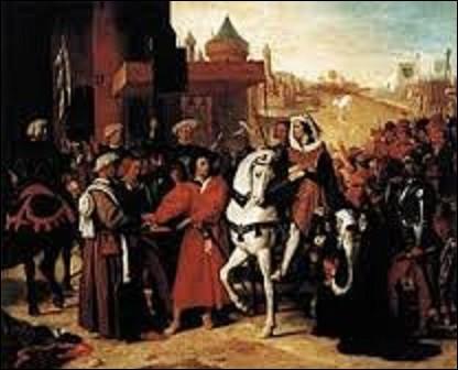 Peinte en 1821, ''Entrée à Paris du dauphin, futur Charles V'', est l'oeuvre d'un artiste de mouvement néoclassicisme. Appartenant à la période troubadour du peintre, ce tableau évoque un épisode de l'histoire de la France médiévale, le retour du dauphin Charles à Paris le 02 août 1358 après la révolte dans la capitale. Qui est l'auteur de cette toile ?