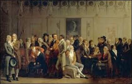 Huile sur toile représentant un certain nombre d'artistes influents sous le Directoire, ''Réunion d'artistes dans l'atelier d'Isabey'' est une oeuvre qui date de 1798, et qui fut exposée pour la première fois, avec 529 autres peintures, au Salon des artistes français de Paris de l'an VI. Acquis, en 1911, par le musée du Louvre, quel peintre miniaturiste et graveur a peint ce tableau ?