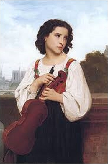''Seule au monde'' est l'oeuvre d'un peintre académique. Dépeignant une jeune femme au cheveux courts tenant un violon, sur un pont enjambant la Seine, elle regarde vers sa gauche d'un air mélancolique. On distingue en arrière plan la cathédrale Notre-Dame-de-Paris, ainsi que ce qui semble être le pont Royal. Celui sur lequel elle se trouve et donc probablement le pont Solférino. Qui l'a peinte ?