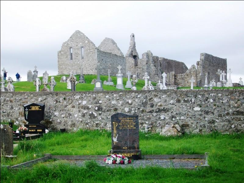 Voici le monastère de Clonmacnoise, haut lieu spirituel de ce pays. Observez bien les croix pour répondre que nous sommes :