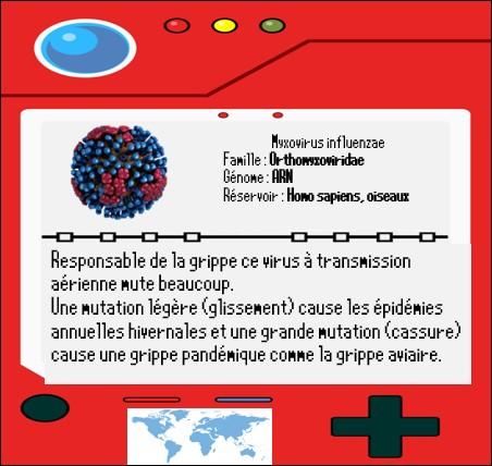 """Une fois le badge """"Sick-kid"""" en poche notre héros reprend la route et tombe sur le chemin d'un virus qui sévit tous les hivers et connu sous le nom de grippe : myxovirus influenzae.Les grandes épidémies de grippe sont nommées via un code semblant abstrait composé de H, de N et de chiffres comme la grippe H1N1 de 2010. À quoi correspond ce code ?"""