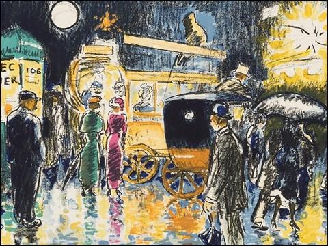 """Qui a réalisé la lithographie """"Place Pigalle la nuit"""" ?"""