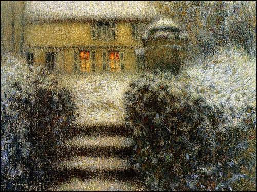 """Qui est l'auteur de la toile """"L'escalier, Gerberoy ou nuit de neige"""" ?"""