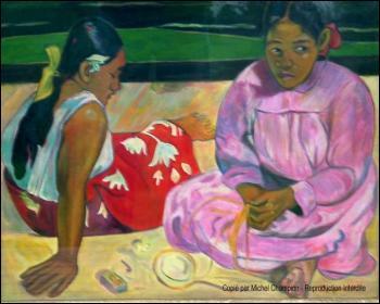 Qui a peint ce tableau 'Tahitiennes sur la plage' ?