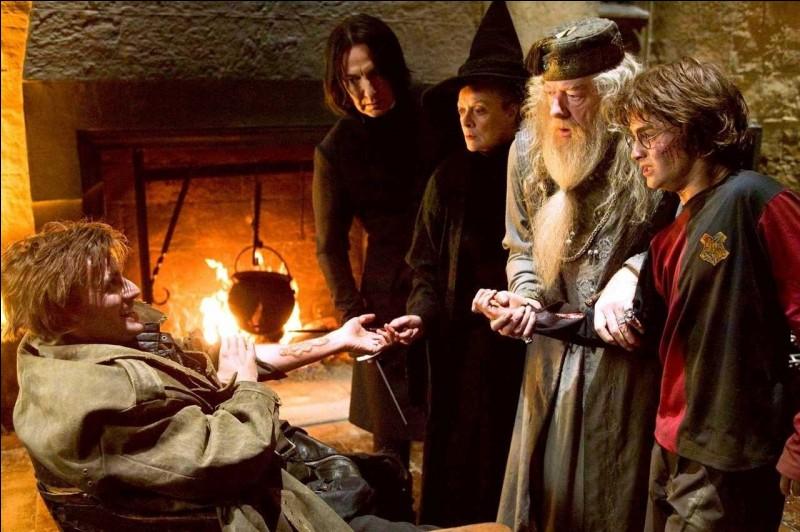 Harry Potter est emmené très loin du Labyrinthe par Bartemius Croupton Jr., toujours déguisé en Alastor Maugrey. Alors qu'il souhaite obtenir des informations, quelle phrase prononcée met la puce à l'oreille de Harry Potter ?