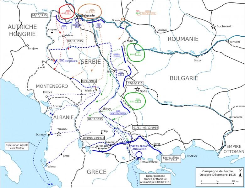 Durant la Première Guerre mondiale, à quelle date Belgrade fut prise par les Austro-Allemands ?