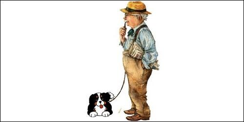 """Terminez la phrase par un adjectif : """"Le chien de mon grand-père est ...""""."""