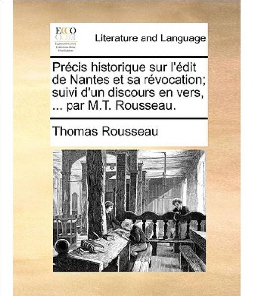 En quelle année a été promulgué l'édit de Nantes ?