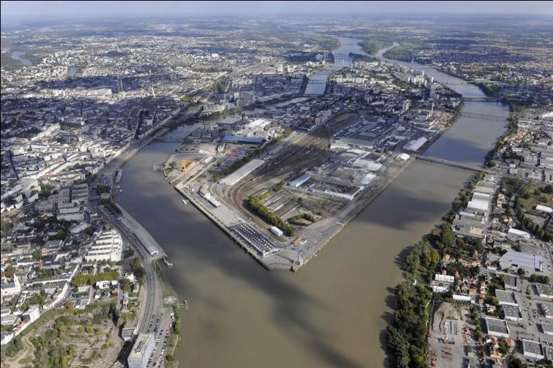 Où est située l'île de Nantes, longue de 5 km sur 1 km de large ?