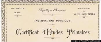 Le certificat d'études primaires est l'ancêtre du diplôme national du brevet.