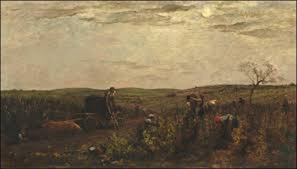 Datant de 1863, le tableau ''Les vendanges en Bourgogne'' représente des vendangeurs dans les vignes. Des bœufs se reposent, certaines femmes cueillent le raisin et le placent dans des paniers qui sont ensuite vidés dans des hottes portées par les hommes. Ces derniers vont les déverser dans les cuves placées dans la charrette. Quel peintre de l'École de Barbizon est l'auteur de cette toile ?