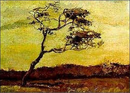 Et on termine ce quiz par cette huile sur toile créée en août 1883 par un peintre de mouvement postimpressionniste et symboliste intitulée ''Arbre fouetté par le vent''. Actuellement perdu lors d'un vol dans une collection privée. Quel artiste a peint cette œuvre de 0,35 m de haut sur 0,47 m de long ?