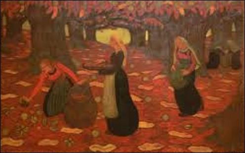 Actuellement conservée au Norton Simon Museum, musée d'art situé à Pasadena près de Los Angeles en Californie, ''Automne, les Ramasseurs de noisettes'' est une toile réalisée en 1894 par un peintre et sculpteur de mouvement nabi. Il se nomme :