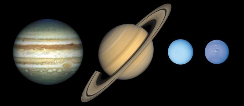 De quoi sont constituées les planètes Jupiter, Saturne, Uranus et Neptune ?