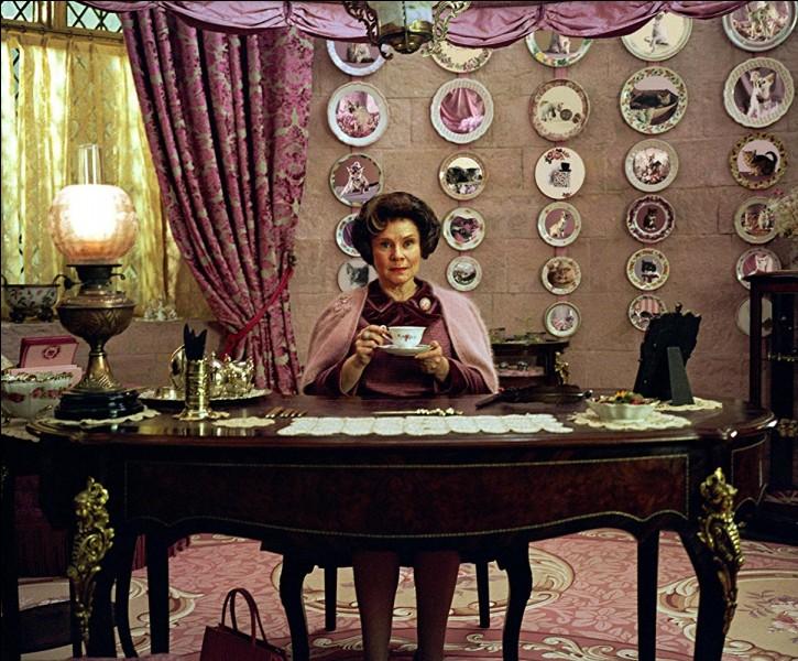 Pour vivre heureux, vivons dans le rose, ce doit être l'adage de la nouvelle directrice de Poudlard. Quel animal est caché ?