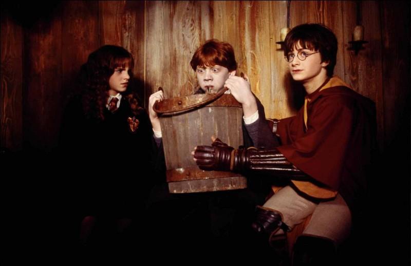 Ron porte un grand baquet de bois sur les genoux. Quel est l'animal qui se cache ?