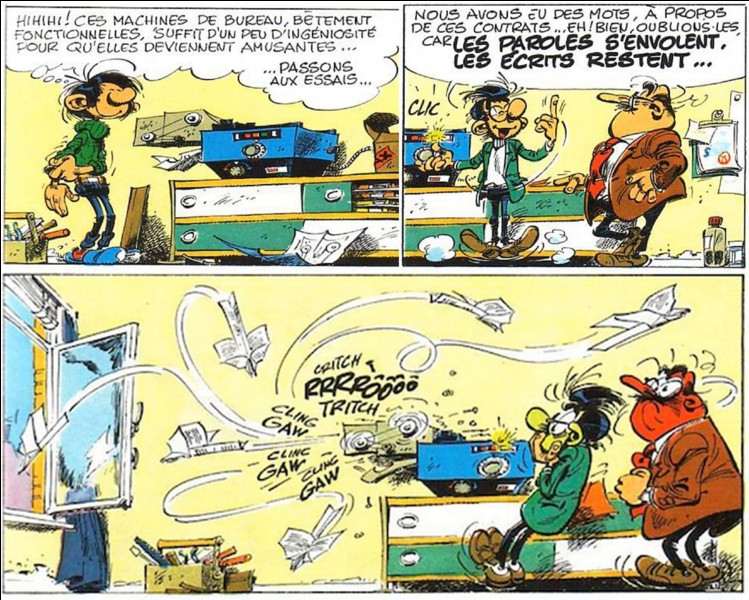 Parlons des inventions de Gaston !Gaston a inventé un pouf ayant d'étonnantes propriétés, il est élastique et très rebondissant ! On apprendra plus tard que cette invention est en réalité une erreur.Que voulait-il inventer ?