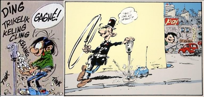 Franquin, l'auteur de la BD, détestait les parcmètres ! Donc, il fit de Gaston un ennemi de cet objet. Résultat, Gaston créa un nombre important d'inventions pour… « transformer » ces « affreux mange-fric ».Parmi ces trois propositions, laquelle n'est pas une invention de Gaston ?
