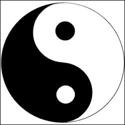 """Y - Dans ce symbole de la philosophie chinoise, le """"Yin"""", représenté en noir, évoque entre autres, le principe masculin."""