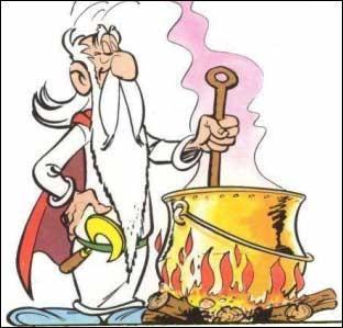 Grâce à ce druide savant et à ses potions magiques, seul un petit village d'irréductibles Gaulois résiste encore avec hargne au terrible envahisseur romain, soit le grand Jules. Faut avouer qu'ils ont l'aide d'Astérix et Obélix, ce dernier étant tombé dans la marmite étant jeune, les effets lui sont permanents. C'est :