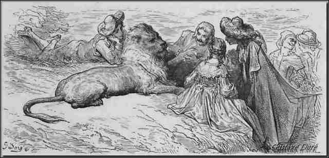 Dans le titre d'une fable de la Fontaine dédiée à Madame de Sévigné, comment est le lion ?