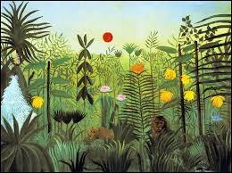 Selon le titre d'un tableau de Henri Rousseau de 1905, sur quel animal se jette le lion qui a faim ?