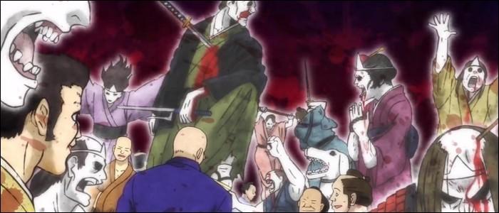 Quel motif y a-t-il sur les lunettes de Shinpachi qui permettent de voir les esprits gardiens ?