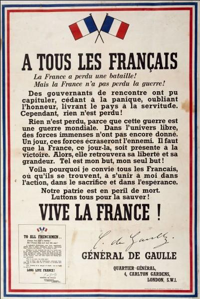 Quelle est la date de l'appel du général de Gaulle ?