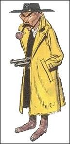 Bonjour ! Lui c'est un chasseur de primes, il gagne sa vie en détruisant celle des autres. Notre salopard a des pommettes saillantes, la pipe vissée à la bouche, le regard impénétrable et les moustaches vers le bas, puis il porte un imperméable à la Colombo.C'est une chouette caricature de Lee Van Cleef.