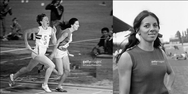 Cette sportive mènera une carrière « sur le fil » ! En effet, elle gagnera sa médaille d'or en battant « sur le fil » son adversaire. Elle se fera battre « sur le fil » à deux autres compétitions. Il faudra attendre 24 ans pour qu'une autre sportive française gagne une nouvelle médaille d'or dans sa discipline.Qui est cette spécialiste du « 400 mètres » ?