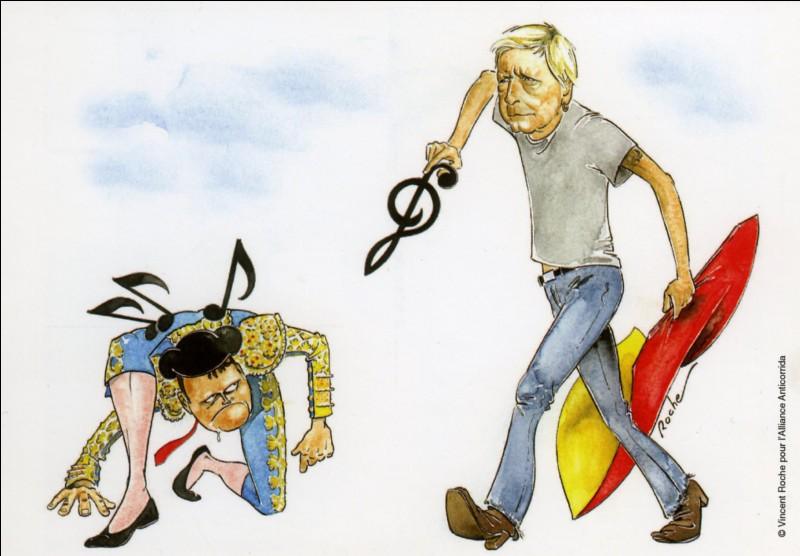 Le texte de Renaud «Rouge sang» est un plaidoyer contre la corrida. Déjà en 1991, cet artiste revendiquait son aversion vis-à-vis de cette barbarie avec la chanson :