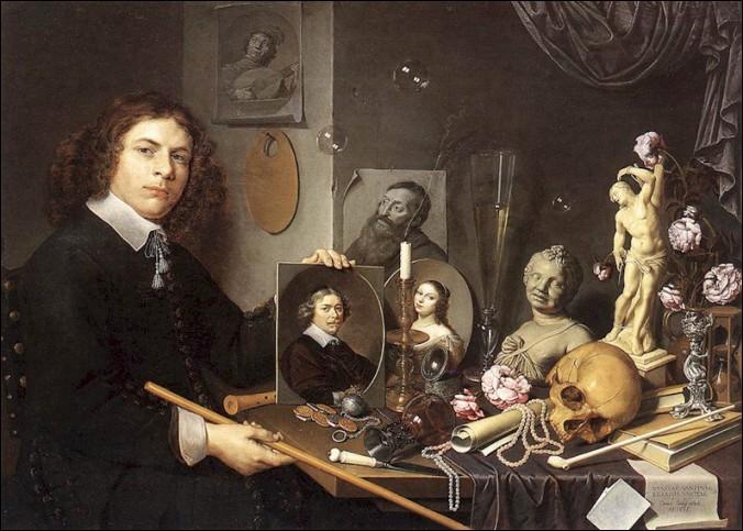 Dans ce tableau de David Bailly, né à Leye, nous voyons l'artiste à différents âges de sa vie. Comment se nomme le procédé employé quand il réalisa ses autoportraits ?
